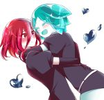 2others androgynous aqua_hair arms_around_neck blush closed_eyes colored_eyelashes crystal_hair elbow_gloves eyebrows_visible_through_hair gem_uniform_(houseki_no_kuni) gloves hair_between_eyes happy highres houseki_no_kuni hug long_bangs mercury multiple_others open_mouth phosphophyllite red_eyes redhead shinsha_(houseki_no_kuni) short_hair smile sou_(mgn) white_background white_skin