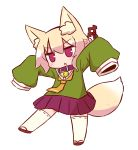 1girl :o animal_ear_fluff animal_ears bangs bell bell_collar blonde_hair blush brown_footwear brown_neckwear collar eyebrows_visible_through_hair fox_ears fox_girl fox_tail full_body green_shirt hair_between_eyes hair_bun hair_ornament head_tilt highres jingle_bell kemomimi-chan_(naga_u) long_sleeves looking_away naga_u original outstretched_arms parted_lips pleated_skirt purple_skirt ribbon-trimmed_legwear ribbon_trim sailor_collar shirt sidelocks simple_background skirt sleeves_past_fingers sleeves_past_wrists solo tail thigh-highs v-shaped_eyebrows white_background white_legwear white_sailor_collar