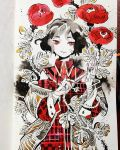 1girl bandaid bandaid_on_face bandaid_on_finger collar eyebrows_visible_through_hair eyes flower highres leaf maruti_bitamin off_shoulder original plaid plant red_eyes red_flower red_rose rose short_hair solo thorns traditional_media upper_body watercolor_(medium)