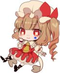1girl ascot bangs black_footwear blonde_hair blush_stickers bow chibi cross-laced_footwear daimaou_ruaeru eyebrows_visible_through_hair flandre_scarlet frilled_shirt_collar frills full_body hand_up hat hat_bow heart heart-shaped_pupils high_heels long_hair looking_at_viewer lowres mob_cap one_side_up petticoat puffy_short_sleeves puffy_sleeves red_bow red_eyes red_skirt red_vest shirt short_sleeves simple_background skirt smile solo spade_(shape) symbol-shaped_pupils touhou vest white_background white_hat white_shirt wrist_cuffs yellow_neckwear