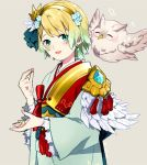 1girl bird blonde_hair blue_eyes blue_hair earrings feather_trim feh_(fire_emblem_heroes) fire_emblem fire_emblem_heroes fjorm_(fire_emblem_heroes) flower gradient_hair grey_background guttary hair_flower hair_ornament japanese_clothes jewelry kimono long_sleeves multicolored_hair nintendo obi owl parted_lips sash short_hair simple_background upper_body wide_sleeves