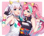 2girls :d :p aqua_hair bangs black_dress black_gloves blue_eyes blunt_bangs cleavage_cutout commentary_request cosplay costume_switch dress gloves green_neckwear hair_ornament kaguya_luna kaguya_luna_(character) kaguya_luna_(character)_(cosplay) long_hair looking_at_viewer multicolored_hair multiple_girls obi open_mouth peta_(snc7) pinky_pop_hepburn pinky_pop_hepburn_(cosplay) pinky_pop_hepburn_official ribbon sash short_hair silver_hair sleeveless sleeveless_dress smile tongue tongue_out twintails two-tone_hair v virtual_youtuber white_ribbon wrist_ribbon x_hair_ornament