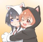 animal_costume animal_ears black_hair blue_eyes blush cat_ears eyebrows_visible_through_hair fang highres hisou_no_hikari hoshino_hinata hug long_hair open_mouth orange_hair paws red_eyes ribbon shiny shiny_hair shirosaki_hana short_hair simple_background watashi_ni_tenshi_ga_maiorita!