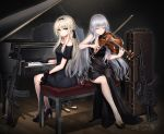 2girls ak-12 ak-12_(girls_frontline) alternate_costume an-94 an-94_(girls_frontline) aqua_eyes ass assault_rifle baek_hyang bangs black_dress black_footwear black_hairband black_ribbon blush braid breasts character_name cleavage closed_eyes closed_mouth commentary_request dated dress eyebrows_visible_through_hair french_braid from_behind girls_frontline gloves grey_hair gun hair_ribbon hairband high_heels highres holding holding_instrument instrument jewelry long_hair looking_at_viewer medium_breasts multiple_girls necklace object_namesake off-shoulder_dress off_shoulder piano ribbon rifle sidelocks signature silver_hair sitting stool very_long_hair weapon
