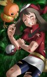 1girl bike_shorts black_shorts blood blood_from_mouth blood_on_face brown_hair bruise closed_eyes creatures_(company) game_freak gen_3_pokemon grass haruka_(pokemon) highres injury jacket long_hair lying nintendo on_side poke_ball pokemon pokemon_(creature) pokemon_(game) pokemon_rse red_bandana red_jacket shiijisu short_shorts short_sleeves shorts tears torchic torn_clothes torn_jacket torn_shorts
