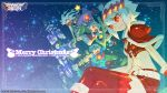 2boys 2girls bandage bandaged_arm bandages bangs bare_arms belt breasts capelet christmas cleavage closed_mouth copyright_name dragon:_marked_for_death empress_(dmfd) hair_between_eyes hat highres legs_crossed merry_christmas midriff multiple_boys multiple_girls nakayama_tooru navel official_art open_mouth red_capelet red_eyes sack santa_costume scarf shinobi_(dmfd) short_hair short_shorts shorts sitting smile text_focus thigh-highs violet_eyes warrior_(dmfd) white_hair witch_(dmfd) zettai_ryouiki