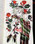 1girl bandaid bandaid_on_leg black_footwear earrings flower full_body grey_hair hair_over_one_eye highres jewelry knees_up leaf looking_at_viewer maruti_bitamin original plaid red_eyes red_flower red_rose red_shorts rose shoes short_hair short_sleeves shorts solo traditional_media watercolor_(medium)