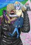 1boy 1girl bald blue_hair blush crossover gou_takeo hoshikawa_lily kneeling monster nemesis oosawa_uuryo petals resident_evil skirt star teeth zombie zombie_land_saga