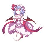 1girl :o bangs bat_wings blue_hair collarbone collared_dress cravat dress eyebrows_visible_through_hair frilled_cuffs frilled_dress frills full_body furagu hair_between_eyes hat highres legs_up looking_at_viewer mob_cap open_mouth red_eyes red_neckwear red_ribbon remilia_scarlet ribbon shoes short_hair simple_background solo touhou white_background white_dress wings wrist_cuffs
