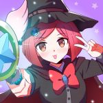 1girl :3 black_hat black_shirt bob_cut cape commentary danganronpa dot_nose eyebrows_visible_through_hair face hair_ornament hairclip hat holding holding_staff jewelry looking_at_viewer new_danganronpa_v3 qosic red_cape red_eyes red_ribbon redhead ribbon shirt short_hair simple_background solo staff star tongue tongue_out v white_wings wings witch_hat yumeno_himiko