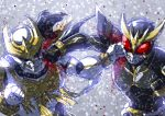 2boys arm_blade armor battle belt black_eyes blood claws face_punch fighting helmet highres horns in_the_face kamen_rider kamen_rider_kuuga kamen_rider_kuuga_(series) kamen_rider_kuuga_(ultimate_form) male_focus monster multiple_boys n-daguva-zeba no_pupils punching red_eyes rider_belt shouji_nigou snow stag_beetle weapon