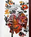1girl bandaid bangs black_footwear eyebrows_visible_through_hair flower full_body grey_hair highres leaf looking_at_viewer maruti_bitamin orange_flower original pink_eyes plaid plant profile red_flower solo white_background