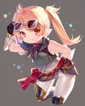 1girl arm_up bare_shoulders black_gloves blonde_hair blush brown-tinted_eyewear brown_neckwear commentary_request cropped_legs eyewear_lift final_fantasy final_fantasy_xiv gloves green_jacket grey-framed_eyewear grey_background grin hand_on_eyewear highres jacket lalafell leaning_forward lifted_by_self long_hair looking_at_viewer pants pointy_ears red_eyes sleeveless_jacket smile solo star sunglasses twintails white_pants yuya_(night_lily)