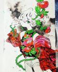 1girl cowboy_shot earrings expressionless eyebrows_visible_through_hair floral_print flower full_body green_eyes grey_pants hair_between_eyes highres inktober jewelry looking_at_viewer maruti_bitamin medium_hair off_shoulder one_eye_closed original pants plaid red_flower sleeveless solo traditional_media watercolor_(medium) white_background white_hair