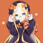 1girl :o abigail_williams_(fate/grand_order) arms_up bangs black-framed_eyewear black_bow black_dress black_hat blonde_hair blue_eyes blush bow bug butterfly commentary_request dress eyebrows_visible_through_hair fate/grand_order fate_(series) fingernails forehead glasses hair_bow hat head_tilt insect long_hair long_sleeves looking_at_viewer orange_background orange_bow parted_bangs parted_lips polka_dot polka_dot_bow round_eyewear sleeves_past_wrists solo stuffed_animal stuffed_toy teddy_bear tengxiang_lingnai upper_body very_long_hair