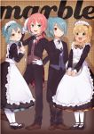 4boys alternate_costume apron blonde_hair blue_eyes blue_hair blush brown_eyes butler crossdressing dress enmaided green_eyes inazuma_eleven inazuma_eleven_(series) inazuma_eleven_go kariya_masaki kazemaru_ichirouta kirino_ranmaru looking_at_viewer maid maid_headdress male_focus miyasaka_ryou multiple_boys necktie one_side_up otoko_no_ko pink_hair ponytail smile tomo_(sjim)