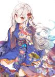 1girl absurdres ahoge arm_support blue_kimono eyebrows_visible_through_hair fal_maro floral_print flower hair_between_eyes hair_flower hair_ornament highres japanese_clothes kimono kneeling long_hair long_sleeves obi print_kimono red_eyes red_flower sash shiny shiny_hair silver_hair simple_background solo tensai_ouji_no_akaji_kokka_saiseijutsu very_long_hair white_background yukata