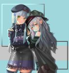 bangs beret black_hat black_legwear black_shorts blunt_bangs blush coat eyebrows_visible_through_hair facial_mark g11_(girls_frontline) girls_frontline gonzz_(gon2rix) green_eyes green_hat green_jacket grey_hair hair_ornament hat highres hk416_(girls_frontline) jacket long_hair messy_hair open_clothes open_coat parted_lips plaid plaid_skirt scarf_on_head shorts shoulder_cutout silver_hair skirt smile teardrop thigh-highs zettai_ryouiki