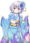 1girl bangs blue_flower blue_kimono blue_ribbon blush closed_mouth eyebrows_visible_through_hair floral_print flower furisode hair_between_eyes hair_flower hair_ornament hair_ribbon head_tilt japanese_clothes kimono konno_junko long_hair long_sleeves looking_at_viewer low_twintails obi pensuke pinching_sleeves print_kimono ribbon sash silver_hair simple_background smile solo standing tassel twintails very_long_hair white_background white_flower wide_sleeves zombie_land_saga