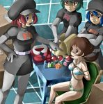 4girls black_hat black_skirt blue_bra blue_eyes blue_hair bondage bound box bra breasts brown_eyes brown_hair cleavage collarbone creatures_(company) crossed_arms elbow_gloves game_freak gloves green_hair grey_gloves grey_legwear hand_on_hip hat highres index_finger_raised indoors kotone_(pokemon) long_hair medium_breasts miniskirt multiple_girls nintendo open_mouth panties pantyhose pencil_skirt poke_ball pokemon pokemon_(game) pokemon_hgss red_eyes redhead restrained rope shiijisu shiny shiny_skin short_hair short_sleeves sitting skirt small_breasts standing striped striped_panties team_rocket team_rocket_grunt team_rocket_uniform tears tied_up twintails underwear underwear_only v-shaped_eyebrows
