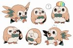 bird bluekomadori closed_eyes creature creatures_(company) game_freak gen_7_pokemon nintendo no_humans owl pokemon pokemon_(creature) rowlet scared standing tears