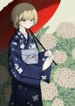 1girl alternate_costume bangs blonde_hair blue_eyes blue_kimono blurry blurry_background braid closed_mouth commentary cowboy_shot darjeeling day eyebrows_visible_through_hair floral_print girls_und_panzer half-closed_eyes highres holding holding_umbrella japanese_clothes kimono lips long_sleeves looking_at_viewer ngc20701 obi oriental_umbrella print_kimono sash short_hair smile solo standing tied_hair umbrella wide_sleeves