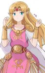 armband belt blonde_hair blue_eyes cape dress highres kgctcg nintendo pink_dress pointy_ears princess_zelda the_legend_of_zelda