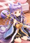 1girl bangs bed blush bow brown_eyes commentary_request eyebrows_visible_through_hair fingernails hair_bow highres hikawa_kyoka holding holding_staff indoors japanese_clothes kimono long_sleeves orange_bow parted_lips pillow plaid pointy_ears princess_connect! princess_connect!_re:dive purple_bow purple_hair purple_kimono sidelocks sitting solo staff twintails wariza wide_sleeves wooden_floor zenon_(for_achieve)