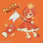 1girl braid brown_eyes character_name creatures_(company) crown dress eyes_visible_through_hair fish flag full_body game_freak gen_1_pokemon gloves holding holding_flag magikarp mameeekueya moemon nintendo number open_mouth orange_(color) orange_background orange_dress orange_footwear orange_hair personification poke_ball poke_ball_(generic) pokemon pokemon_(creature) pokemon_number shoes simple_background standing twitter_username white_flag yellow_gloves