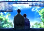 1boy 1girl black_hair blue_sky blurry blurry_background clouds day facing_away hair_up head_on_shoulder hetero izumi_(stardustalone) japanese_clothes kimono lens_flare long_hair renri_no_chigiri_wo_kimi_to_shiru sitting sky tree