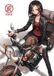 1girl 2019 bangs black_hair black_pants boar bracelet chinese_zodiac choker collarbone crossed_bangs earrings ground_vehicle highres jacket jewelry leather leather_jacket looking_at_viewer motor_vehicle motorcycle oopartz_yang open_clothes open_jacket original pants red_eyes short_hair solo white_background year_of_the_pig