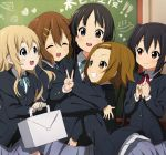 5girls akiyama_mio black_eyes black_hair black_jacket blue_ribbon brown_eyes brown_hair chalkboard closed_eyes cowboy_shot grey_skirt grin hirasawa_yui hug jacket k-on! kotobuki_tsumugi long_hair looking_at_viewer matokechi multiple_girls nakano_azusa neck_ribbon pleated_skirt red_ribbon ribbon round_teeth sakuragaoka_high_school_uniform school_uniform short_hair skirt smile tainaka_ritsu teeth twintails