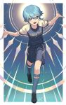 1boy angel_wings blue_eyes dolustoy eyebrows_visible_through_hair full_body hair_between_eyes highres looking_at_viewer male_focus open_mouth saotome_seiya shorts silver_hair smile soccer_uniform solo sportswear wings