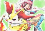 1girl braixen creatures_(company) elle_(pokemon) fire game_freak gen_6_pokemon highres nintendo oka_mochi pink_eyes pink_hair pokemon pokemon_(anime) pokemon_(game) pokemon_xy pokemon_xy_(anime) red_eyes skirt smile stick