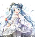 1girl absurdres apple blue_eyes blue_hair canine cowboy_shot dress earrings elbow_gloves eyebrows_visible_through_hair flower food fruit gloves hatsune_miku highres holding holding_food holding_fruit jewelry long_hair looking_at_viewer open_mouth panties pedo0201 petals solo thigh-highs twintails underwear very_long_hair vocaloid white_background white_dress white_gloves white_legwear white_panties yuki_miku
