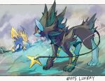 black_fur blue_bur canine cat creatures_(company) electricity game_freak gen_3_pokemon gen_4_pokemon luxray manectric nintendo no_humans pokemon yellow_fur