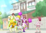 1boy 3girls arms_up boots cape cheering circlet dress family frilled_dress frills fur_trim glasses green_footwear hair_ornament heart heart_hair_ornament hugtto!_precure itommy magical_boy magical_girl multiple_girls nono_hana nono_kotori nono_shintarou nono_sumire pink_hair pink_skirt pom_pom_(clothes) precure puffy_short_sleeves puffy_sleeves purple_footwear short_sleeves skirt spoilers surprised sweatdrop tree twintails white_legwear