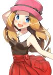 1girl :d arm_up black_bow black_ribbon black_shirt blue_eyes blush bow brown_hair collarbone eyebrows_visible_through_hair floating_hair hat hat_bow hat_ribbon highres long_hair looking_at_viewer miniskirt open_mouth outstretched_arm pink_hat pleated_skirt red_skirt ribbon shiny shiny_hair shirt simple_background skirt sleeveless sleeveless_shirt smile solo standing standing_on_one_leg white_background yuihiko