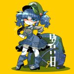 backpack bag bangs black_gloves blue_eyes blue_footwear blue_hair blue_skirt blush boots breasts collared_shirt eyebrows_visible_through_hair frilled_shirt_collar frilled_skirt frills full_body gloves green_hat grey_shirt hand_on_hip hat kawashiro_nitori key long_sleeves medium_hair one_eye_closed pocket shirt short_twintails sidelocks skirt sleeves_rolled_up standing touhou translation_request twintails yellow_background yt_(wai-tei)