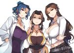 3girls adjusting_eyewear blue_eyes blue_hair breasts brown_hair character_request cleavage cross cross_necklace crossed_arms front-tie_top glasses hands_in_pockets huge_breasts jewelry labcoat long_hair looking_at_viewer mature multiple_girls necklace pendant ragnarok_online semi-rimless_eyewear short_ponytail under-rim_eyewear updo violet_eyes white_background xration