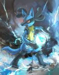 absurdres aura blue_fur creatures_(company) day_walker1117 energy_ball game_freak gen_4_pokemon highres lucario nintendo no_humans pokemon pokemon_(game) pokemon_dppt red_eyes spikes tail