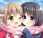 2girls ;d ahoge argyle argyle_scarf backpack bag bangs black_bow black_hairband blue_sky blue_sweater blush bow brown_eyes chestnut_mouth clouds cloudy_sky commentary_request day enpera eye_contact eyebrows_visible_through_hair fang fingernails hair_between_eyes hair_bow hair_ornament hairband hairclip hanamiya_natsuka jacket light_brown_hair long_hair long_sleeves looking_at_another multiple_girls one_eye_closed open_mouth original outdoors parted_lips pink_scarf pom_pom_(clothes) red_jacket scarf shared_scarf sky sleeves_past_wrists smile sweater twintails upper_body violet_eyes