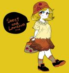 adapted_costume aki_minoriko alternate_costume bag black_footwear blonde_hair breasts collarbone english_text erect_nipples grey_legwear hat holding holding_bag medium_hair red_eyes red_hat red_skirt shoes simple_background skirt socks speech_bubble touhou yellow_background yt_(wai-tei)