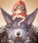 1boy 1girl :3 animal_ears blue_eyes brown_hair cloak closed_eyes granblue_fantasy hand_on_own_cheek highres hood hooded_cloak jacket looking_away pout pouty_lips renie sukemyon tongue tongue_out wolf wolf_ears wulf