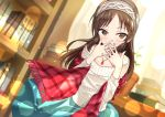 1girl absurdres bare_shoulders blue_skirt blush book_stack bookshelf brown_eyes brown_hair covering_mouth dutch_angle gem hairband highres idolmaster idolmaster_cinderella_girls indoors jewelry long_hair long_sleeves looking_at_viewer necklace off-shoulder_sweater open_mouth plaid plaid_scarf red_scarf ribbed_sweater scarf skirt solo sweater tachibana_arisu white_hairband white_sweater wind wkdnlwoddl
