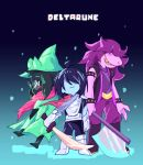 1boy 1girl 1other ambiguous_gender deltarune kris_(deltarune) mochiyy ralsei susie_(deltarune) trio undertale