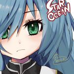 1girl blue_hair commentary_request green_eyes highres long_hair looking_at_viewer maria_traydor solo star_ocean star_ocean_till_the_end_of_time