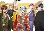 2boys 3girls ;d apron bangs black_shirt blue blue_eyes blue_hair blue_kimono breasts brown_eyes brown_hair cleavage eyes fan floral_print green_kimono grin hair_between_eyes hair_over_shoulder hair_ribbon hand_on_hip hands_clasped haori hatsune_miku holding holding_fan japanese_clothes kagamine_len kagamine_rin kaito kimono long_hair long_sleeves looking_at_viewer low_twintails medium_breasts megurine_luka meiko multiple_boys multiple_girls one_eye_closed open_mouth own_hands_together parted_bangs ponytail print_kimono red_apron red_eyes red_kimono red_ribbon ribbon sarashi shiny shiny_hair shirt short_hair smile suzunosuke_(sagula) tied_hair twintails very_long_hair vocaloid wide_sleeves yellow_kimono