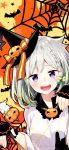 1girl bat bow braid gloves hair_bow half_gloves halloween halloween_costume hat highres lips multicolored_hair open_mouth pumpkin sakuragi_ren short_hair silk silver_hair single_braid smile spider_web teeth uni_channel violet_eyes virtual_youtuber wizard_hat yuni_(chain_chronicle)
