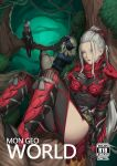 3girls armor black_bodysuit blonde_hair bodystocking bodysuit breasts character_request commentary cover cover_page doujin_cover english_commentary forehead forest gauntlets greaves hair_pulled_back hair_ribbon highres horned_headwear in_tree kumiko_shiba long_hair looking_at_viewer medium_breasts monster_hunter monster_hunter:_world multiple_girls nature pink_eyes ponytail red_eyes ribbon see-through short_hair silver_hair tree veil